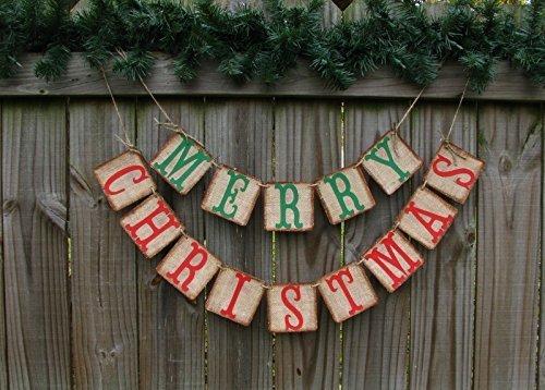 christmas home decor burlap christmas banner christmas card photo prop primitive christmas decor - Amazon Christmas Home Decor