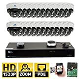 GW Security 32CH H.265 4K NVR 4-Megapixel (2592 x 1520) 4X Optical Zoom Network Plug & Play Video Security System, 24pcs 4MP 1520p 2.8-12mm Motorized Zoom POE Weatherproof Dome IP Cameras