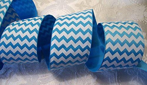 Grosgrain Ribbon - Ocean Blue Chevron Print - 1.5