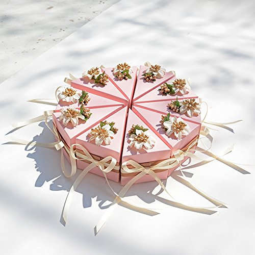 Moleya Pack of 20 pcs DIY Party Favor Candy Cake Boxes for Wedding, Engagement, Bridal Shower, Baby Shower or Any Party Decorations, Pink