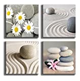 YPY PAINTING 4 Panels Beach Stone Sand Daisy Flower Beauty Canvas Picture for Wall Décor Home Décor Stretched By Wooden Frame 12x12in