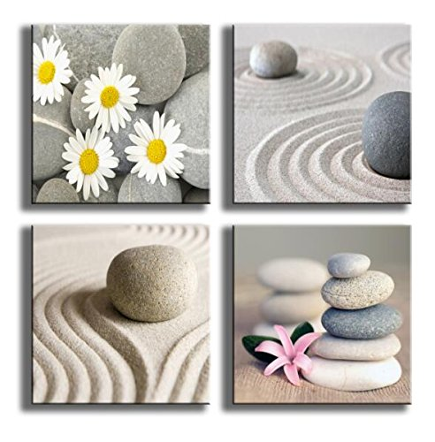 Sand Daisies (YPY PAINTING 4 Panels Beach Stone Sand Daisy Flower Beauty Canvas Picture for Wall Décor Home Décor Stretched By Wooden Frame)