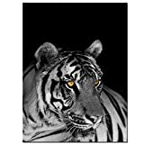 Live Art Decor -Tiger Picture on Canvas Black and White Wall Art Animal Painting Art Modern Home Decoration,Framed Easy Hanging,24''X32''