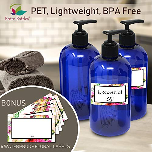 BAIRE BOTTLES - 16 OZ BLUE PLASTIC REFILLABLE BOTTLES with BLACK Pumps - ORGANIZE Soap, Shampoo and Lotion with a Clean, Classy Look - PET, Lightweight, BPA Free - 6 Pack, BONUS 6 FLORAL LABELS by Baire Bottles (Image #6)
