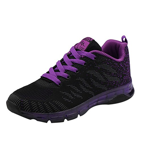 Red Ta Women Flying Woven Shoes Air Cushion Mech Lace Up Casual Sneakers Students