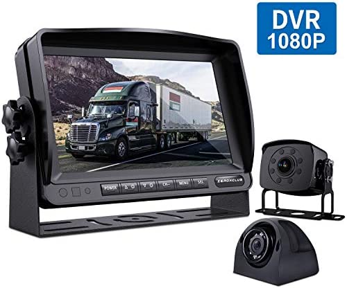 ZEROXCLUB Wired Backup Camera for Truck RV Trailer, FHD 1080p 7-inch Monitor with 2 Camera for Watching Blind Spot of Back and Side,for Long Vehicle Bus Lorry 5th Wheel BC02