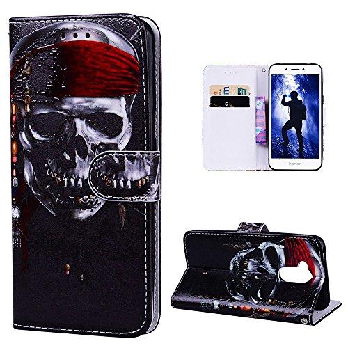 Hülle für Huawei Honor 6A, Leder Hülle Handyhülle Ledertasche Flip Case Etui Cover Tasche Wallet Case Brieftasche mit 3D Muster Kunstleder Kartenfächern Magnetverschluss Handytasche für Huawei Honor 6 Schädel