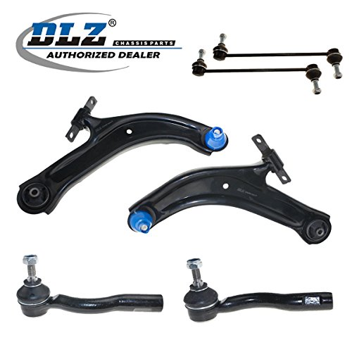 (DLZ 6 Pcs Front Suspension Kit-2 Lower Control Arm Ball Joint Assembly 2 Sway Bar 2 Outer Tie Rod End Compatible with 2007 2008 2009 2010 2011 2012 Sentra ES800574 ES800575 K620373 K750096)