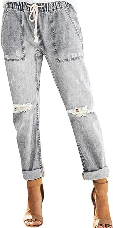 Linkay 2019 - Pantalones Vaqueros para Mujer, de Verano, con ...