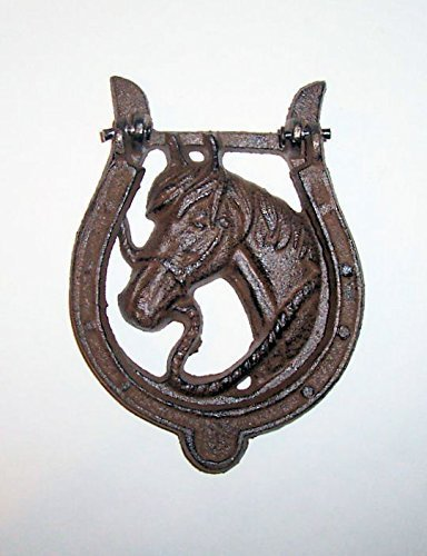 ''ABC Products'' - Heavy Cast Iron - Horseshoe - Hammer Door Knocker - With Horse Head in The Center - (Dark Bronze - Rustic Color Finish - Has That Old Primitive Country Look)