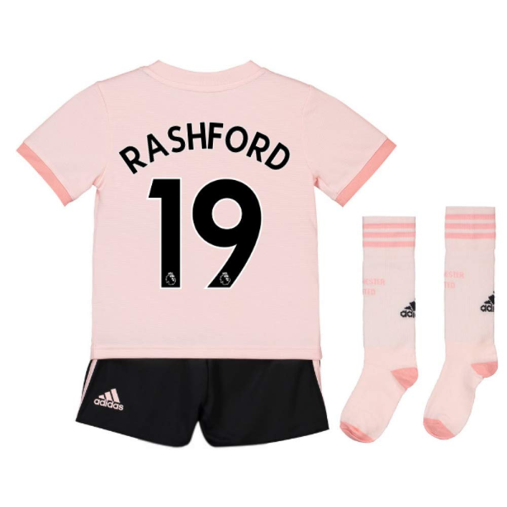 UKSoccershop 2018-19 Man Utd Away Mini Kit (Marcus Rashford 19)