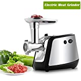 Electric Meat Grinder, Stainless Steel Multi-Function Sausage Maker Mincing Machine with 3 Grinding Plates for Home Commercial Use, 1000W (Black)