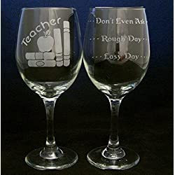 Teacher Good Day Bad Day Don't Even Ask Large 20oz Wine Glass. This glass makes a great gift idea for any teacher/professor - Birthday, Christmas, or any occasion.