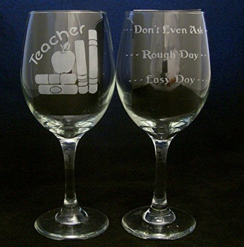 Teacher Good Day Bad Day Don't Even Ask Large 20oz Wine Glass. This glass makes a great gift idea for any teacher/professor - Birthday, Christmas, or any (Teacher Easy Grader)