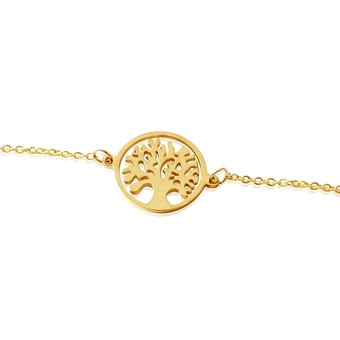 Good.Designs ® Pulsera con el árbol de la Vida - Pulsera en Oro, Argento o Oro Rosa