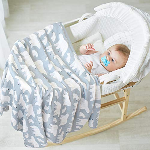 Lebze Bebe Muselina Swaddle Mantadiseno De Oso Polar Bambu Algodon Muselinas 120X120 Cm Mantitas Para Bebes