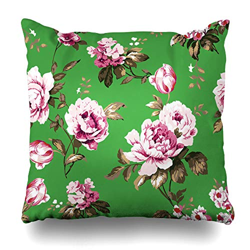 Ahawoso Throw Pillow Cover Valentines Shabby Chic Vintage Roses Tulips Forgetmenots Forget Me Nots Classic Chintz Floral for Home Decor Pillowcase Square Size 16