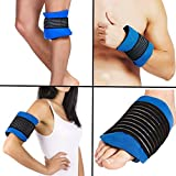 Pain Relief Gel Ice Pack Wrap, Hot Cold Therapy Pad with Elastic Strap for Sports Injury, Reusable for Reducing Swelling, Inflammation, Stopping Bleeding on Neck, Knee, Wrist, Elbow, Ankle