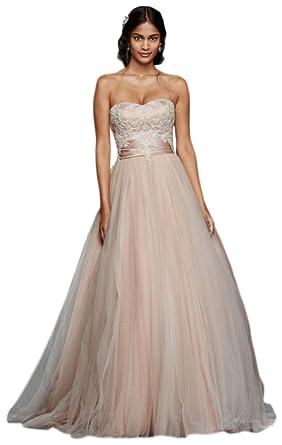 Jewel Strapless Tulle Beaded Lace Wedding Dress Style WG3795, Ivory ...