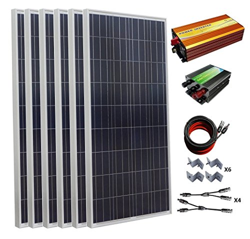 ECO-WORTHY 900W Polycrystalline 24v Off Grid Solar Panel Kit:6pcs 150W Poly Solar Panels+45A Charge Controller+1500W Pure Sine Wave Inverter+Solar Cable+MC4 Branch Connectors+Mounting Z ()