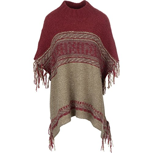 People Labyrinth Pattern Poncho - Women's Taupe Combo, XS/S