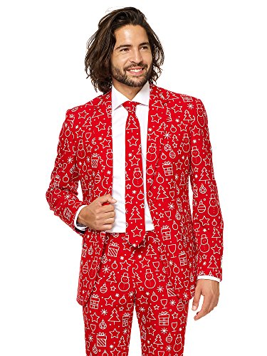 OppoSuits Christmas Suits for Men in Different Prints – Ugly Xmas Sweater Costumes Include Jacket Pants & Tie -