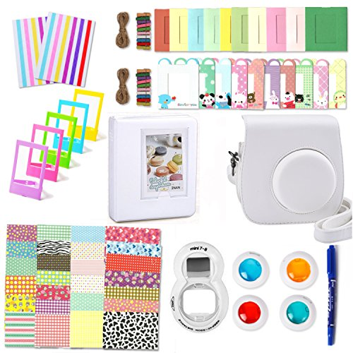 Leebotree Camera Accessories Compatible with Fujifilm Instax Mini 9 or Mini 8 8+ Include Case/Album/Selfie Lens/Filters/Wall Hang Frames/Film Frames/Border Stickers/Corner Stickers/Pen(White)