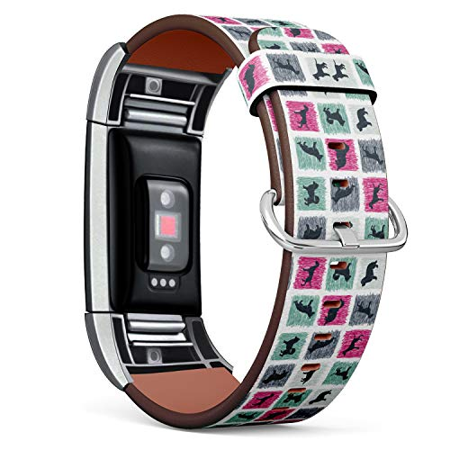 S-Type Leather Bracelet Watch Band Strap Replacement Wristband Compatible with Fitbit Charge 2 - Stylized Hand Drawn Dog Breeds ()