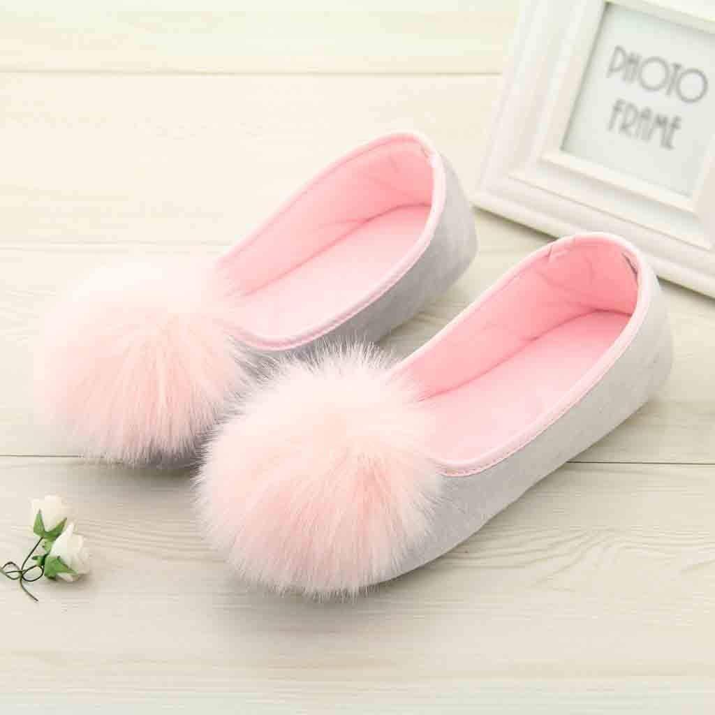 Goldweather Women Slip-On Pregnant Flat Slippers Ladies Fashion Soft Sole Fluff Ball Anti Slip Home Bathroom Shoes