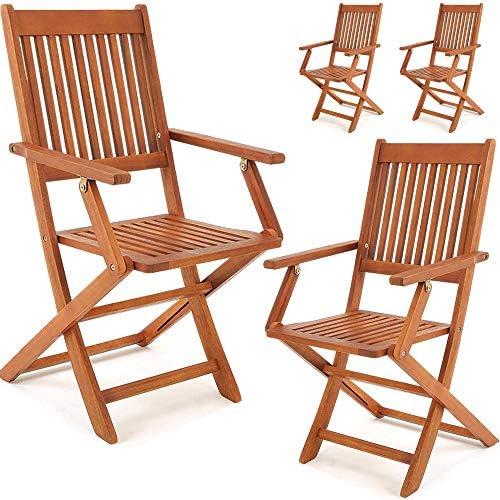 Deuba Set Juego de 4 sillas Sydney de Madera de Acacia ...
