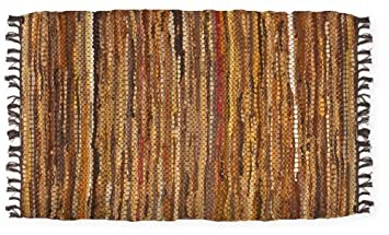 2-1//2 X 8 Brown HF by LT Tucson Hallway Rug Runner Handwoven Recycled Leather