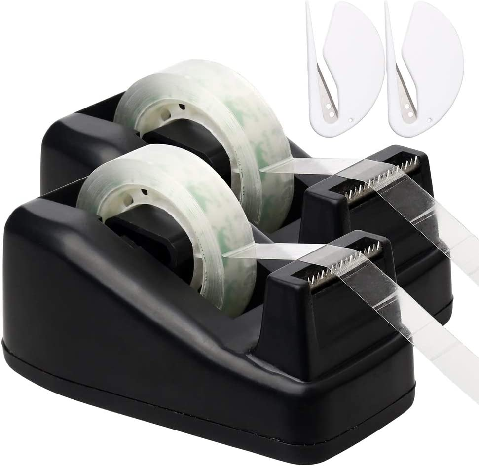 Color Scissor 2 Pack Desktop Tape Dispenser with 2 Extra Tape Rolls and 2 Letter Openers Perfect for Office, Home, School
