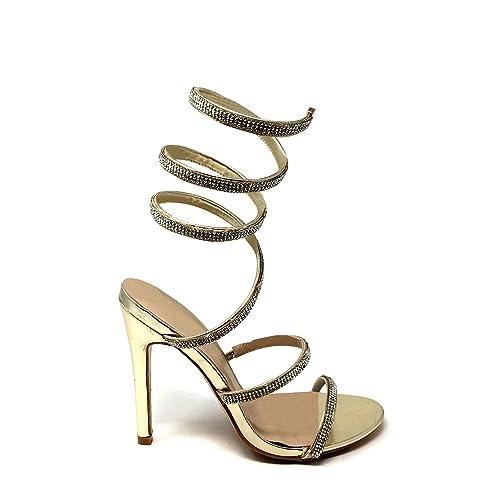 4514c3c6b Calida Ladies Women High Stiletto Heel Ankle Spiral Twist Diamante Open Toe  Sandal  Amazon.co.uk  Shoes   Bags