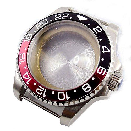 Bliger 43MM Sapphire Glass Blac Red Bezel Stainless Steel Watch Case Fit ETA 2824 2836 Movement(Black ()