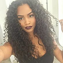 130density Brazilian Virgin Hair Lace Wig Natural Black Color New Cap Style Curly Lace Front Human Hair Wigs for Black Women (18inch lace front wig)