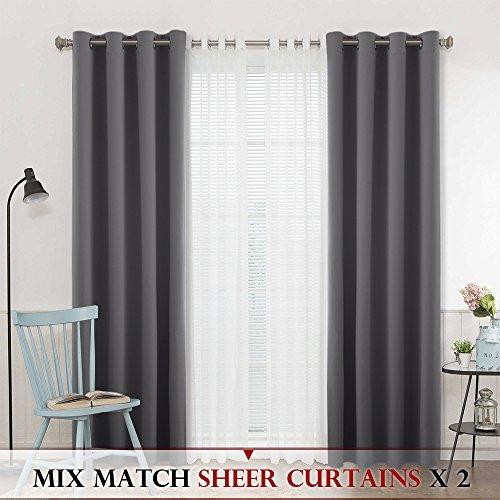 Gray Room Darkening Window Curtains - RYB HOME 4 Packs Mix M