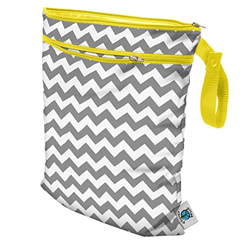 Planet Wise Wet/Dry Bag, Gray Chevron, Made in the USA