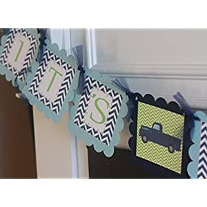 """Vintage Truck or Motorcycle """"It's a Boy"""" Light Blue, Navy Blue & Lime Green Chevron Planes - Matching Items Cupcake Toppers, Door Sign, Favor Tags Avail."""