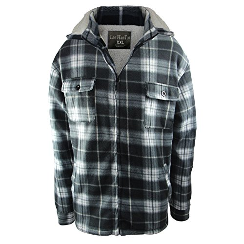 (Winter Heavy Warm Sherpa Lined Fleece Plaid Flannel Jacket Men Plus Size S-5XL Big&Tall Mens Coat (2XL, Black))