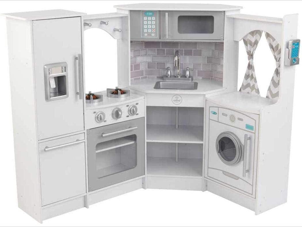 Amazon Com Kidkraft Ultimate Corner Play Kitchen Set White Amazon Exclusive Toys Games