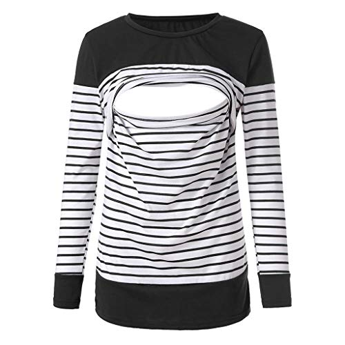 Stripe Tops Hoodie Tees (Women's Pregnant Blouse Maternity Stripe Long Sleeve Round Neck T-Shirt Womens Nursing Breastfeeding Blouse)