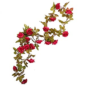 Li Hua Cat Rose Garland Artificial Rose Vine with Green Leaves 63 Inch Pack of 3 Flower Garland For Home Wedding Decoration (17rose-red) 18