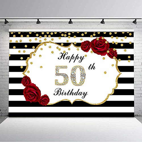Mehofoto Happy 50th Birthday Backdrop Red Rose Flower Black and White Stripes Photo Background 7x5ft Glitter Gold Dots Diamonds Backdrops for Adults Birthday Decorations Supplies ()