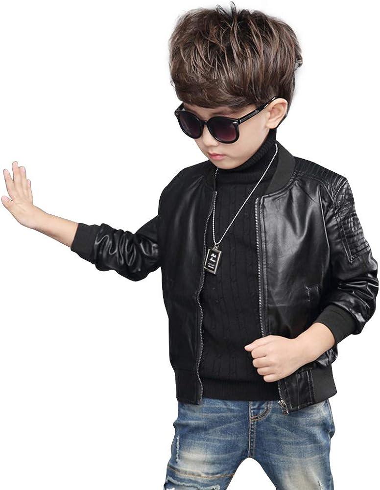 Suncaya Motocicleta para Niños Abrigo de Cuero Faux PU Corta Chaqueta de Cuero Outwear Cool Coat