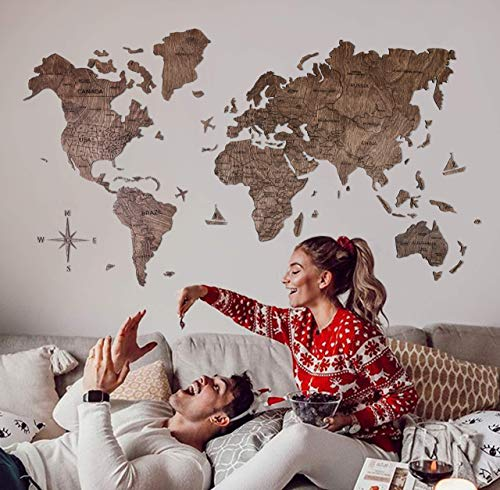 Wood World Map Wall Art. Large Wall Decor - World Travel Map ALL Sizes (M, L, XL). Any Occasion Gift Idea - Wall Art For Home & Kitchen or