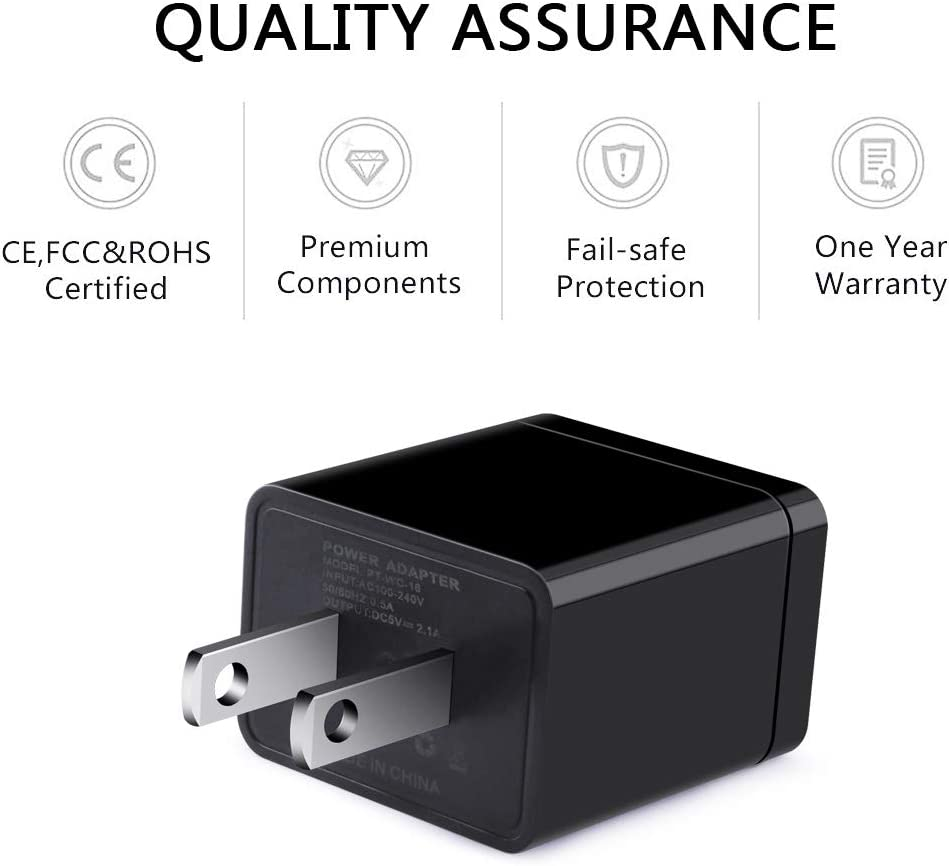 USB Wall Charger and Other Android Phones- Black iPad AILKIN 3-Pack 2.1A Dual Port USB Plug Power Adapter Charging Cube Replacement for iPhone X//XR//Xs//Xs Max//8//8//7//6S//6S Plus iPod Samsung