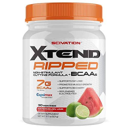Scivation Xtend Ripped BCAA Powder, Branched Chain Amino Acids, BCAAs, Stimulant Free Muscle Recovery & Fat Burner with CLA & Capsimax, Watermelon Lime, 30 Servings ()