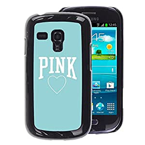 A-type Arte & diseño plástico duro Fundas Cover Cubre Hard Case Cover para Samsung Galaxy S3 MINI 8190 (NOT S3) (Pink Baby Blue Heart Text Love Clean)