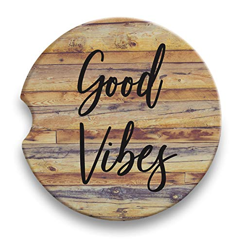 (Good Vibes - Absorbent Ceramic Car Cup Holder Coasters Set of 2)