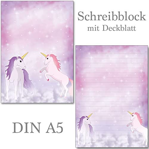 2 Stück Schreibblöcke mit Linien magisches Einhorn je 50 Blatt Format DIN A5 mit Deckblatt 7380